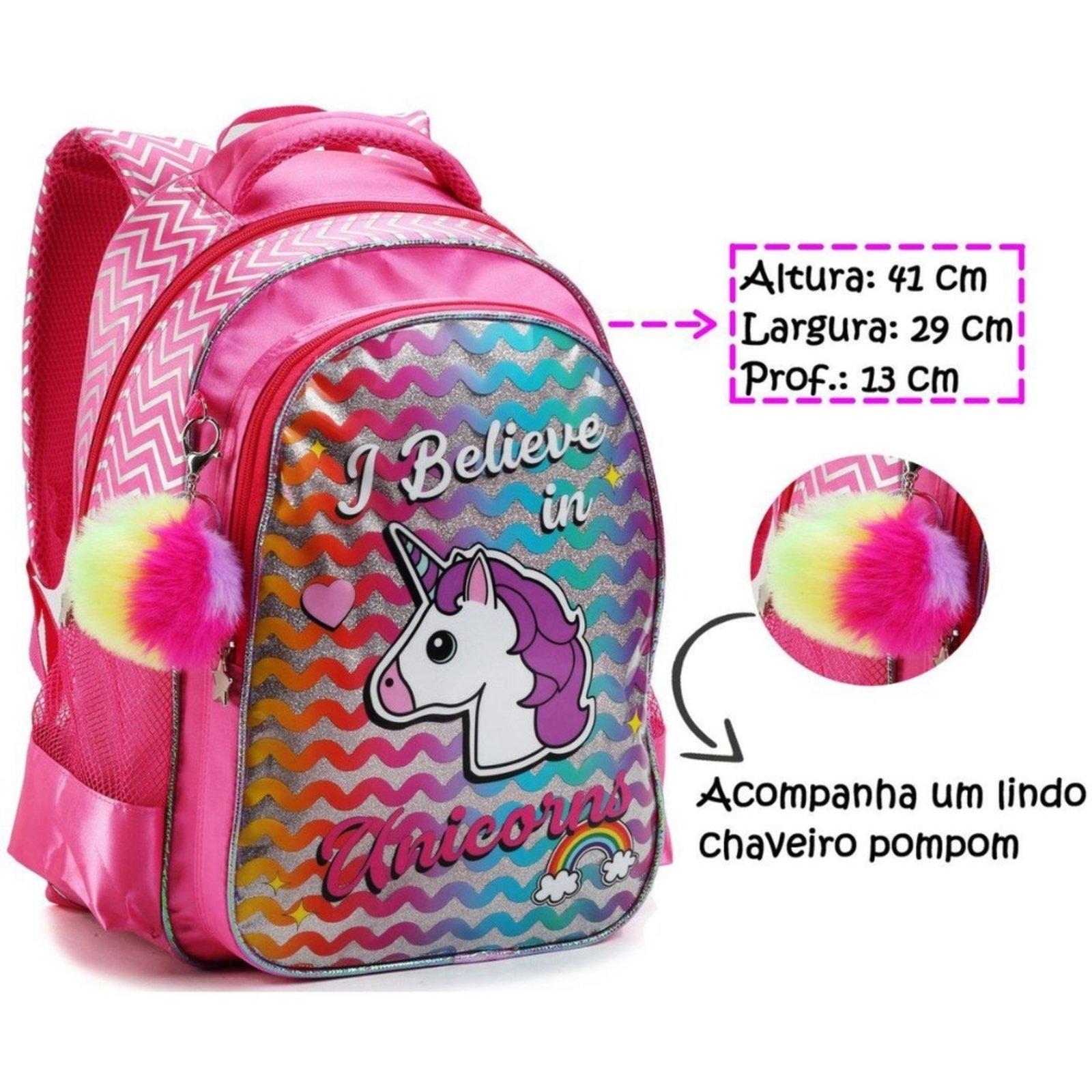 Mochila Escolar Feminina Meninas Criança Sereia e Unicórnio Rosa - Compre Agora