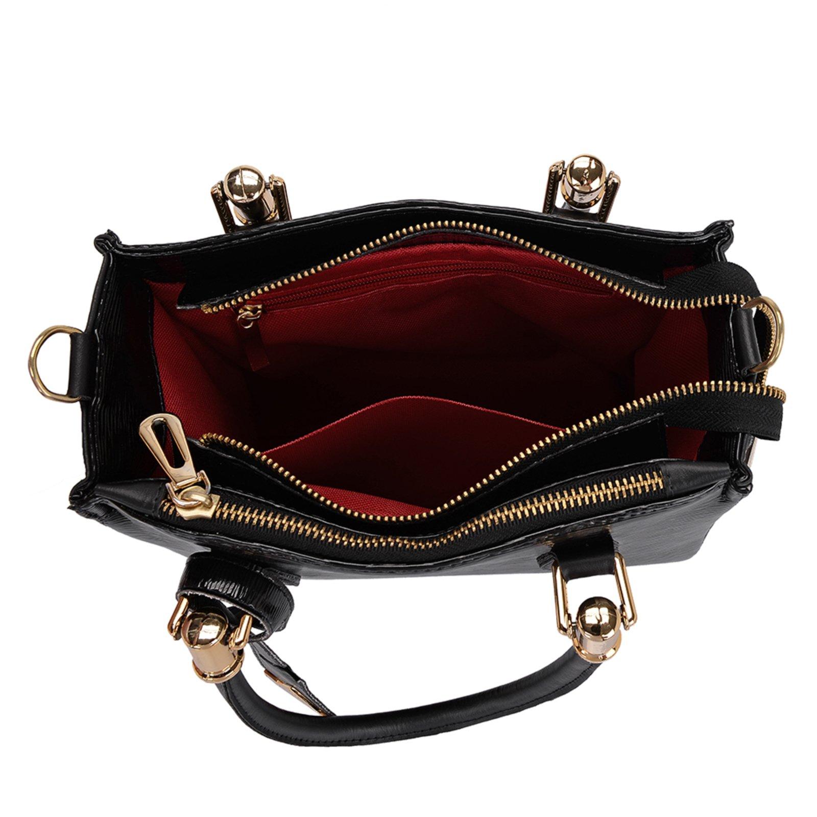 Bolsa Transversal com Bolsa Pequena e Carteira Feminina Preta Selten - Compre Agora