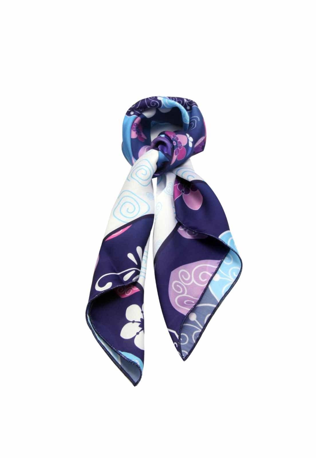Lenço Smm Acessorios Floral Azul Bic - Marca Smm Acessórios