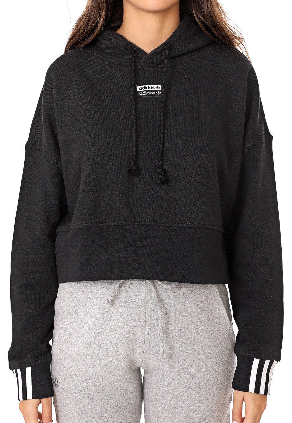 Moletom Flanelado Cropped Fechado adidas Originals Hoodie Preto - Marca adidas Originals