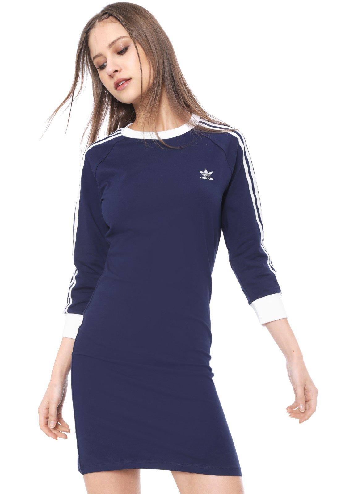 mil prosa Baya  Vestido adidas Originals Curto 3 Stripes Azul-marinho - Compre Agora |  Dafiti Brasil